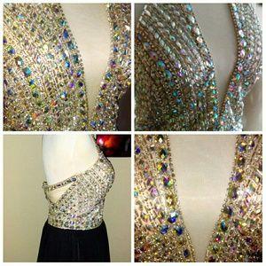 Boutiqe Dresses - Beautiful Rhinestone Nude & Black Flowy Gown